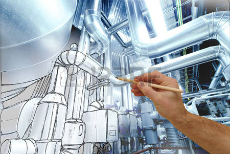 54297676-man-s-hand-draws-a-design-of-factory-combined-with-photo-of-modern-industrial-power-plant